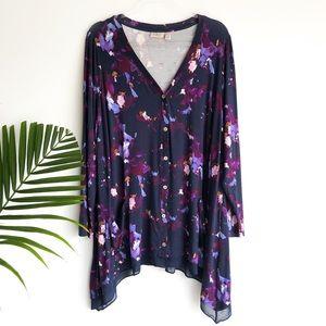 LOGO Lori Goldstein | floral tunic top blouse 1x